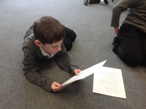 Year 4 Tobacco Factory Workshop Adam Learning his lines