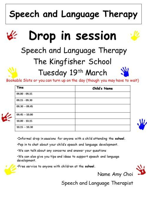 Kingfisher School Speech and Language Drop in 19th March 2019