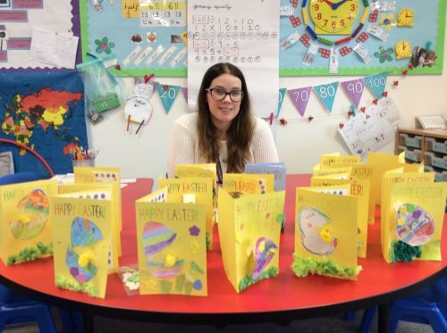 Chloe allen with class easter cards
