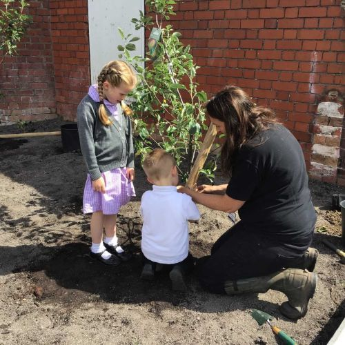Phoebe and Corey planting a tree