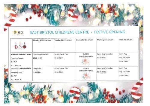 East Bristol Children Centre Festive Opening Times JPEG