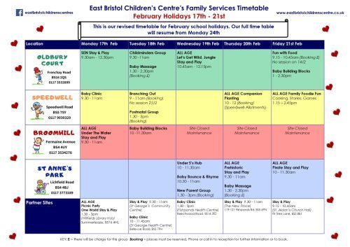 Ebcc february school hols time table 2