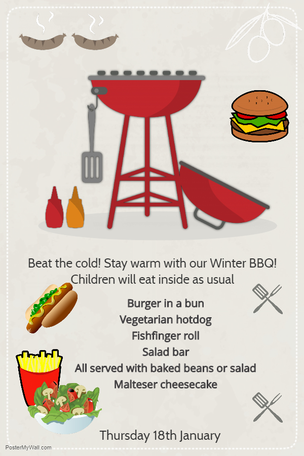Winter BBQ Menu Thursday 18th January 2018